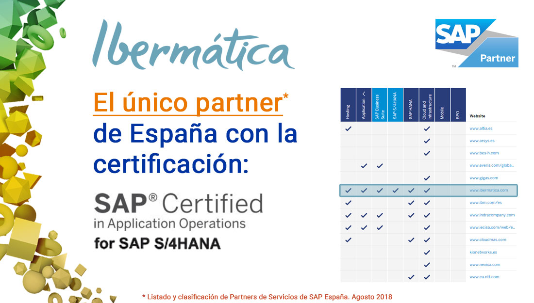 Ibermática, reconocido por SAP, como único Service Partner en España en Application Operations para S/4HANA